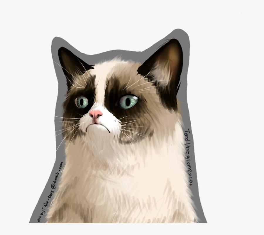 Grumpy Cat Face Art Png , Png Download - Grumpy Cat Art Png, Transparent Clipart