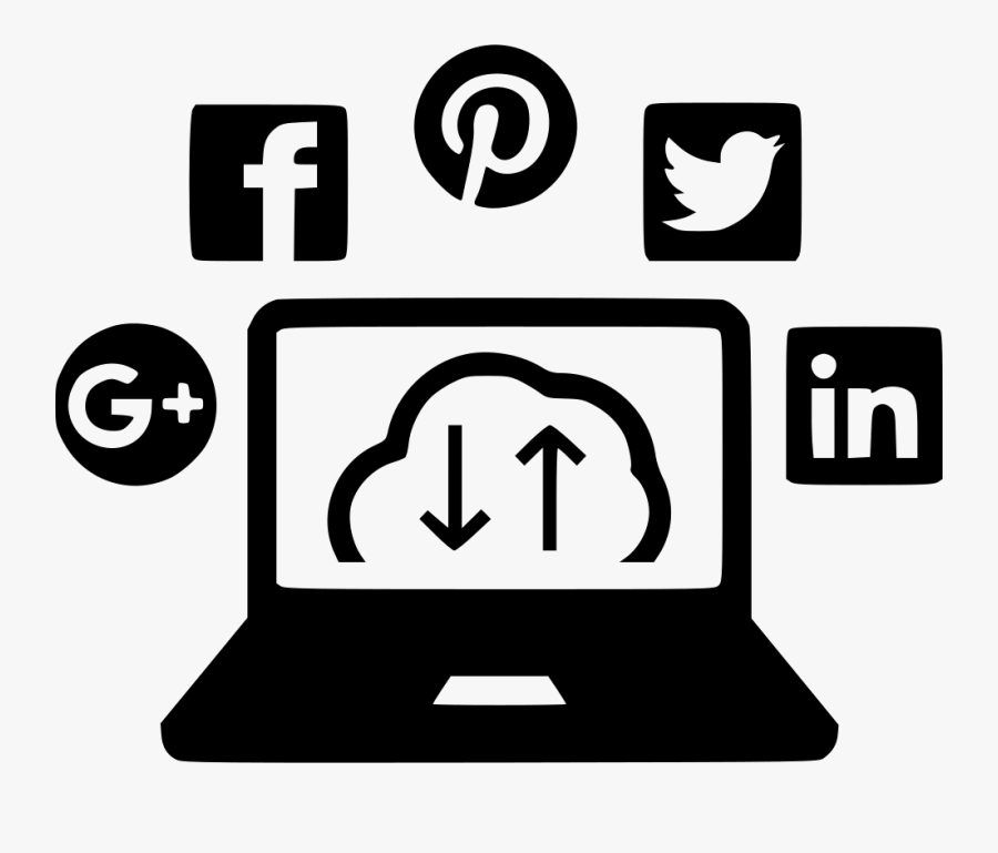 Social Media Cloud Svg - White Digital Marketing Icon Png, Transparent Clipart