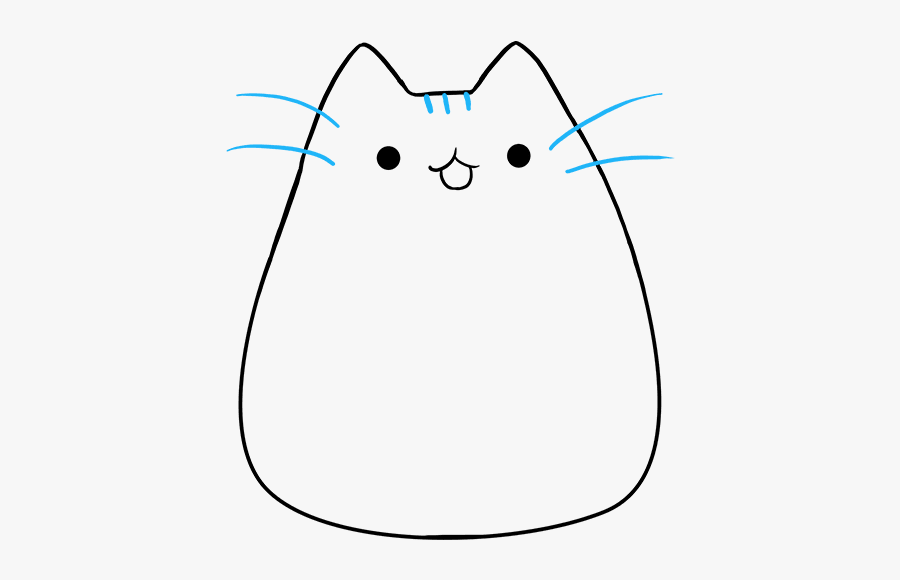 How To Draw Pusheen The Cat - Cartoon Cat Drawing Outline, Transparent Clipart