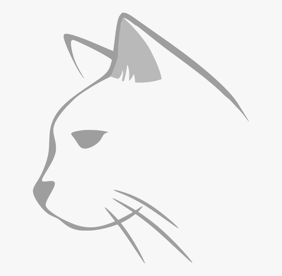 Cat Line Art Kitten Drawing Silhouette - Transparent Cat Head Clipart, Transparent Clipart