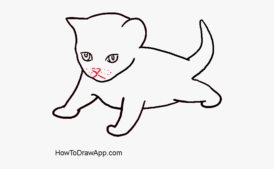 How To Draw A Kitten - Draw A Small Cat, Transparent Clipart