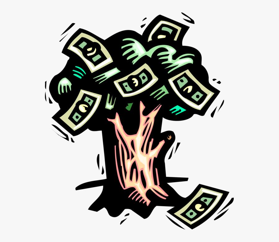 Vector Illustration Of Money Tree Conceptual Negation - Characteristic Of Money Illustration, Transparent Clipart