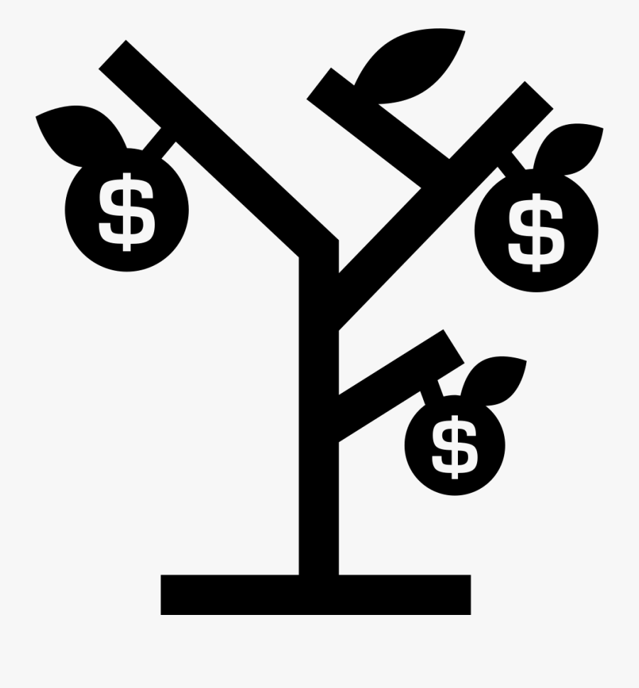 Money Tree With Dollars Fruits - Tree With Fruits Icon, Transparent Clipart