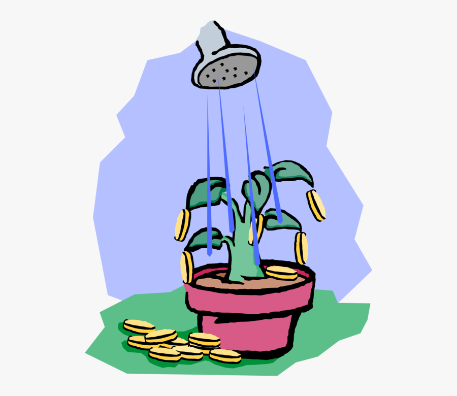 Vector Illustration Of Water Can Watering Money Tree - Illustration, Transparent Clipart