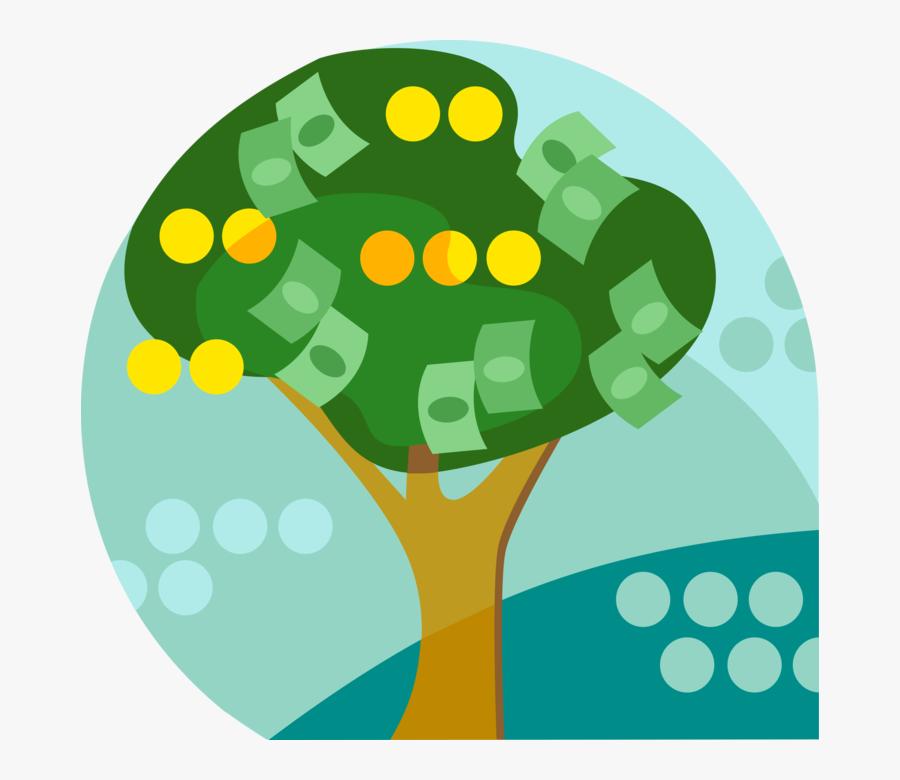 Vector Illustration Of Money Tree Conceptual Negation - Illustration, Transparent Clipart