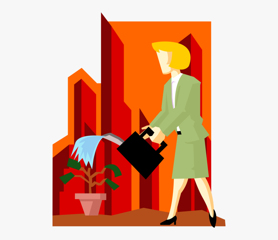Vector Illustration Of Businesswoman Waters Corporate - Illustration, Transparent Clipart