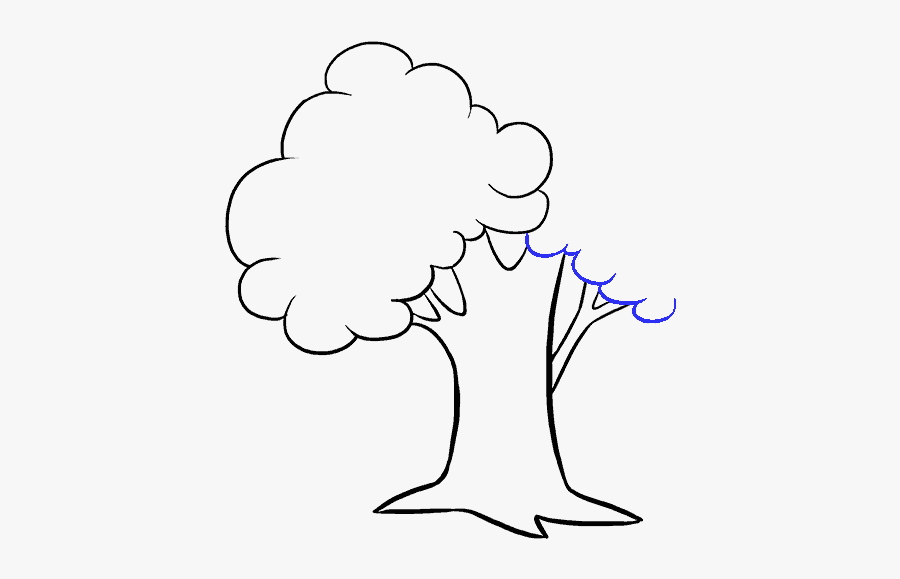 How To Draw Cartoon Tree - Drawing Picture Of A Tree, Transparent Clipart