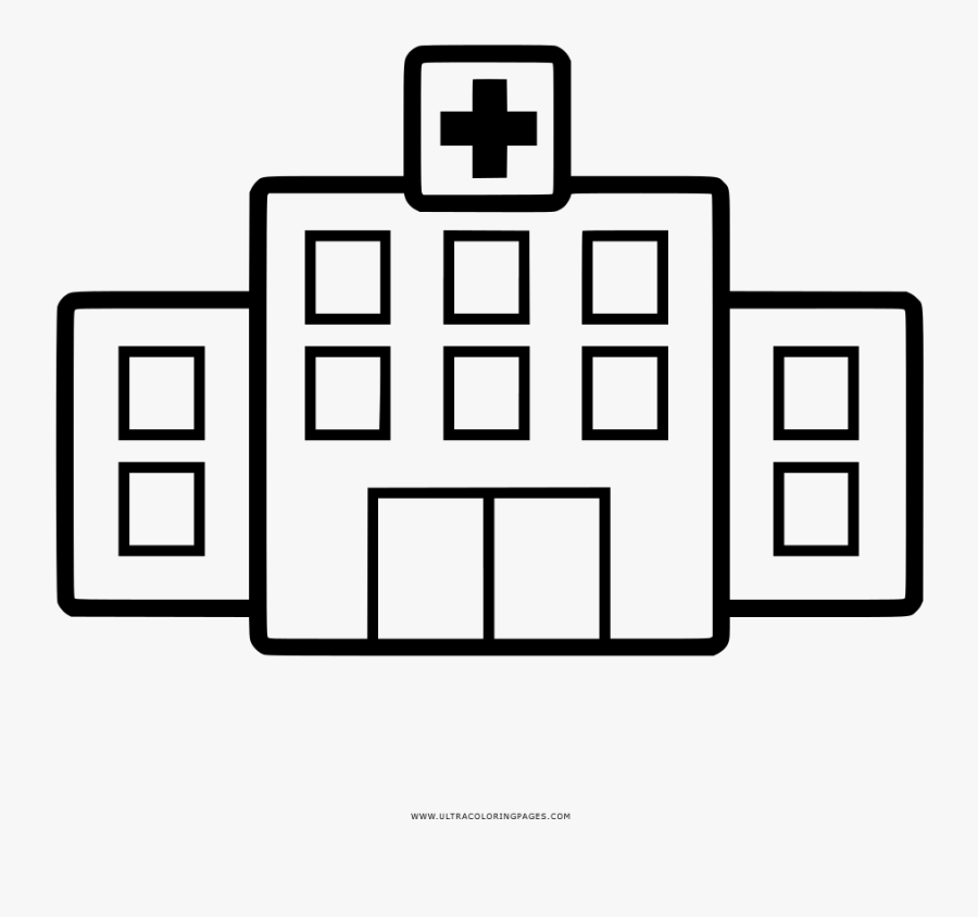 Hospital Coloring Page - Hospital Drawing Png, Transparent Clipart