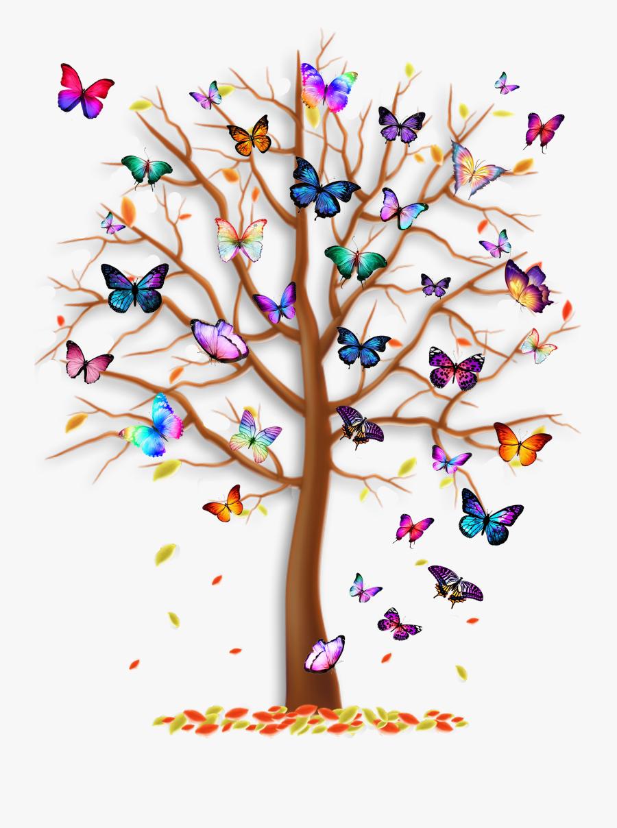 Butterfly Tree T Shirt, Transparent Clipart