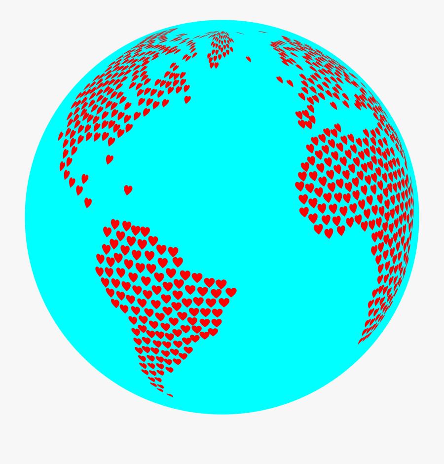 Hearts Globe With Ocean Clip Arts - Dot Bag Wash Black S, Transparent Clipart