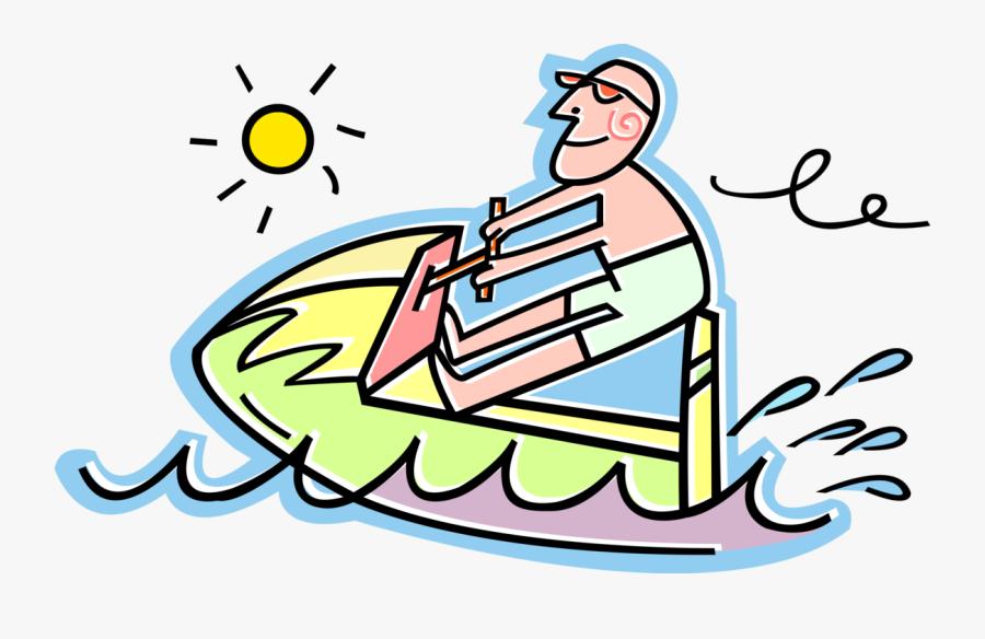 Vector Illustration Of Personal Watercraft Water Sports - Jet Ski Clip Art, Transparent Clipart