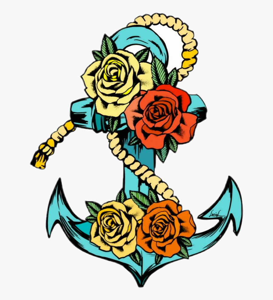 #anchor #tattoo #tattoos #ink #inkart #oldfashioned - Anchor Rose Tattoo Stencil, Transparent Clipart