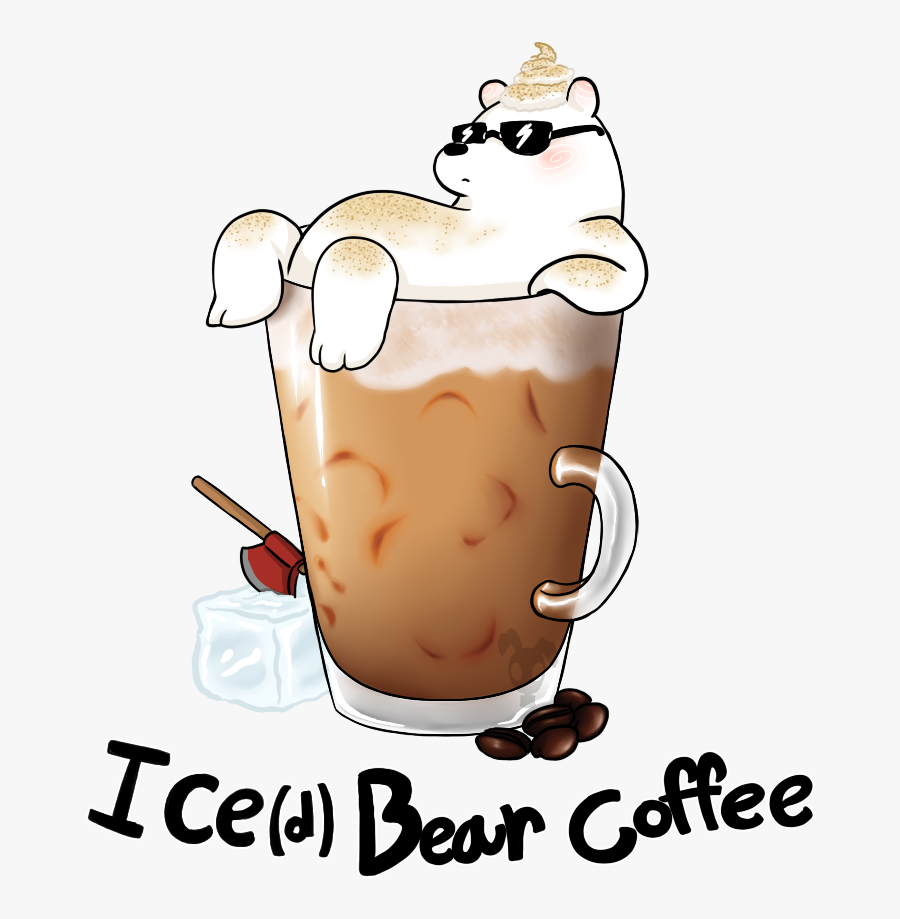 Latte Clipart Iced - Ice Bear Drinking Coffee, Transparent Clipart