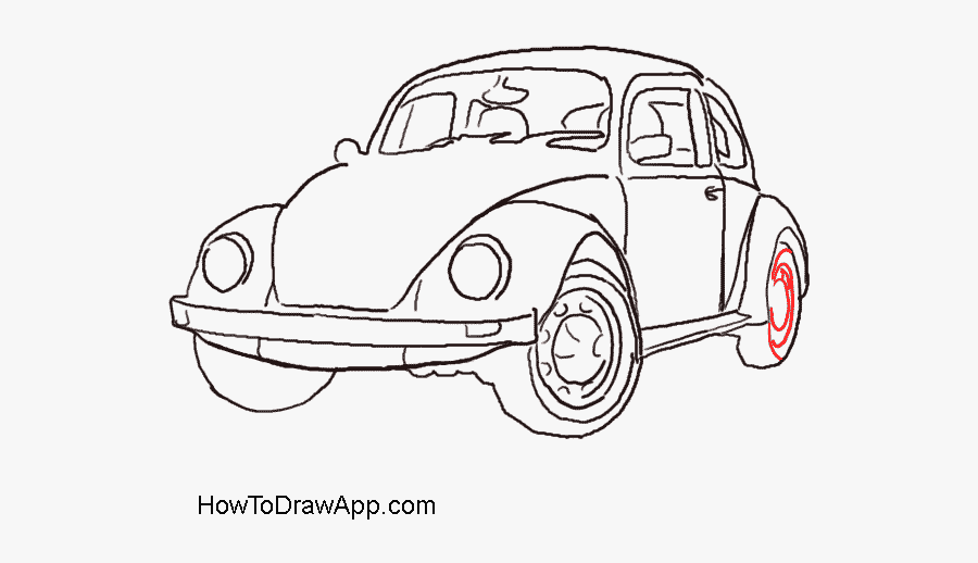 How To Draw An Old Time Car Volkswagen Beetle - Easy Old Car Drawing, Transparent Clipart