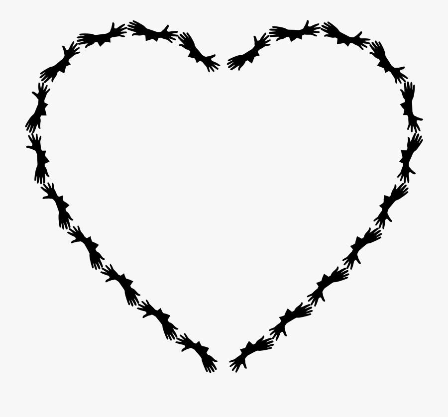 Lend A Hand Heart - Heart Frame Line Art, Transparent Clipart