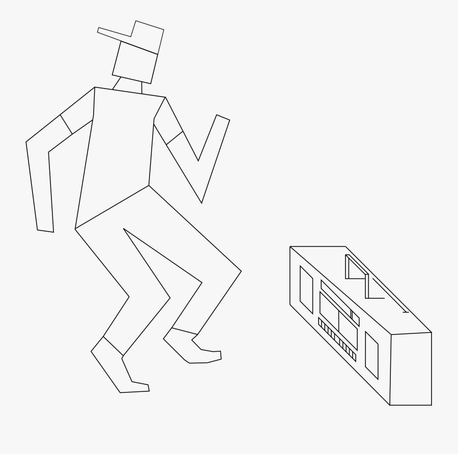 Dancing Box Man Line Art Clip Arts - Line Art, Transparent Clipart