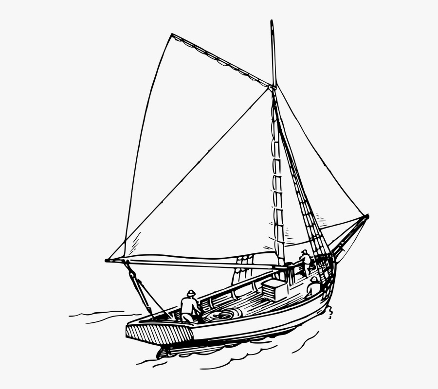 Transparent Yacht Clipart Black And White - Transparent Sailboat Drawing, Transparent Clipart