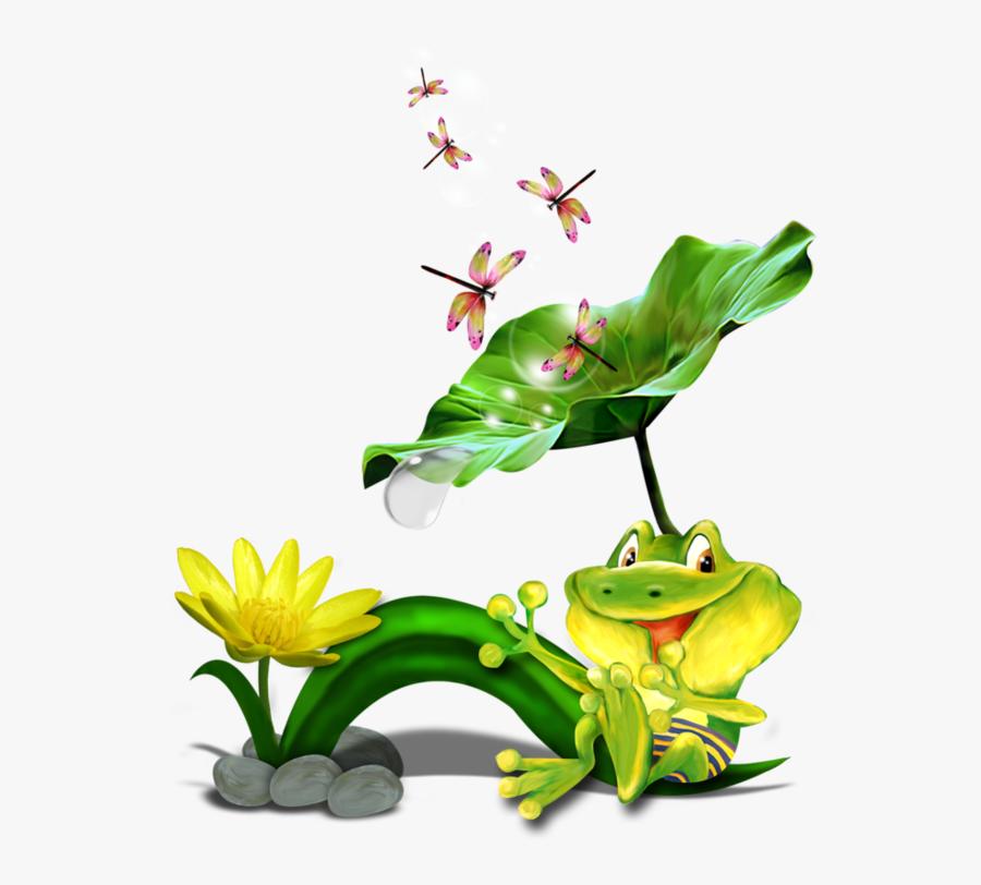 Image Du Blog Zezete - Frog On A Lily Pad Drawing, Transparent Clipart