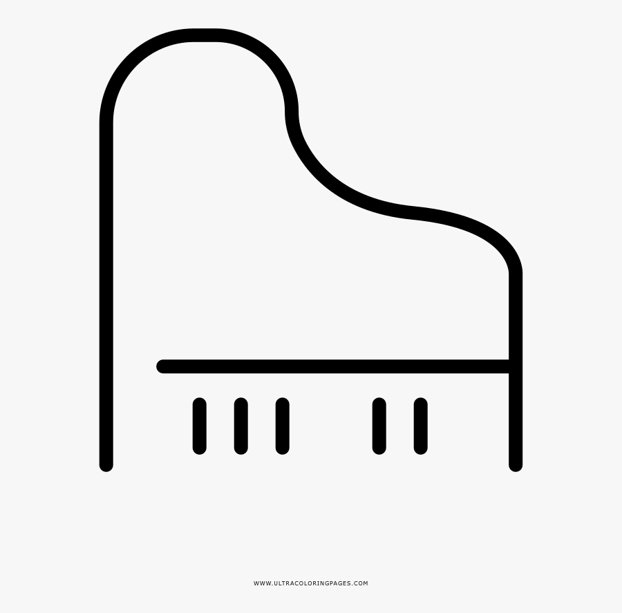 Piano Coloring Page - Line Art, Transparent Clipart
