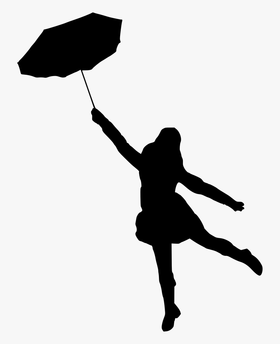 Silhouette With Umbrella At Getdrawings - Black Silhouette Under Umbrella, Transparent Clipart
