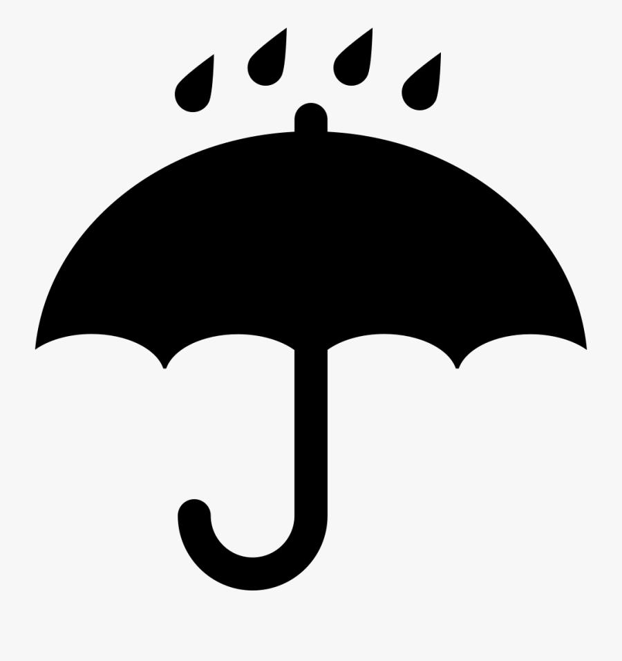 Black Opened Umbrella Symbol With Rain Drops Falling - Umbrella Rain Symbol, Transparent Clipart