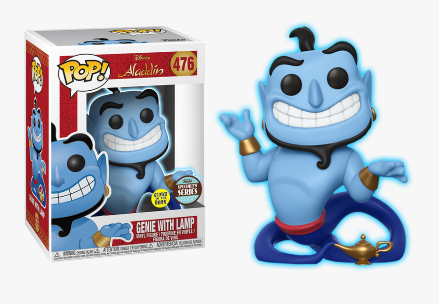 Genie With Lamp Glow In The Dark Pop Vinyl Figure - Genie Funko Pop Specialty Series, Transparent Clipart