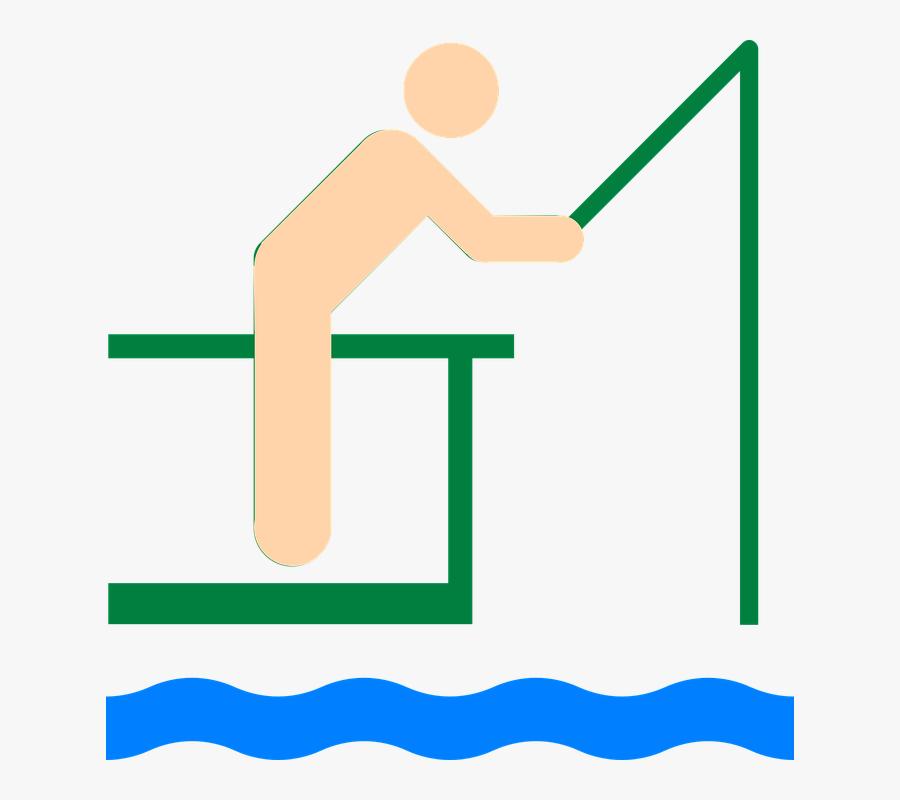 Fisherman, Fisher, Man, Line, Fishing, Lake, Rod, Pier - Clip Art, Transparent Clipart