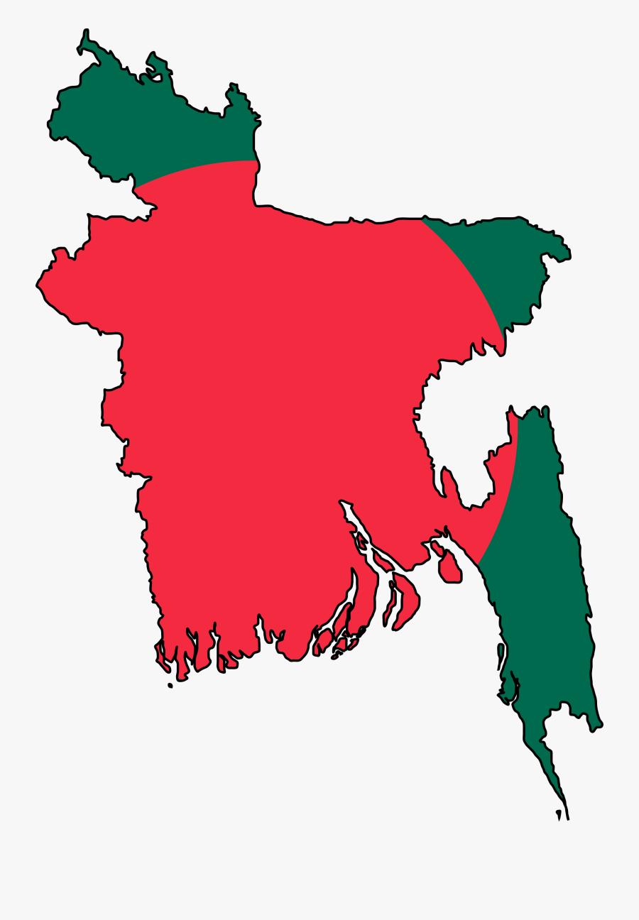 Bangladesh Flag Map Large Map - Bangladesh Map Flag, Transparent Clipart