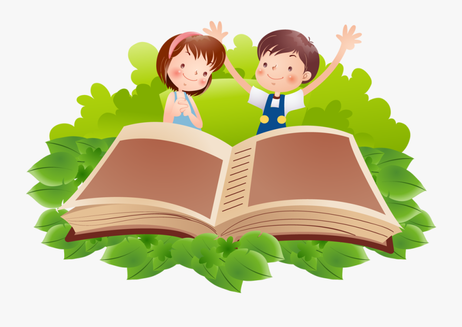 Reading Book Clip Art - Boy And Girl Reading A Book, Transparent Clipart