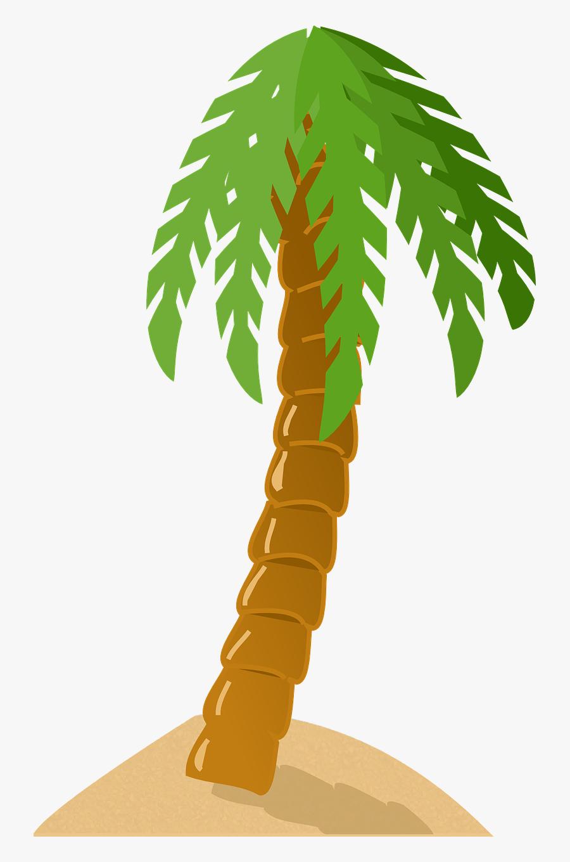 Palm Tree Exotic Tropical Island Green Sand Beach - Palm Tree Clip Art, Transparent Clipart