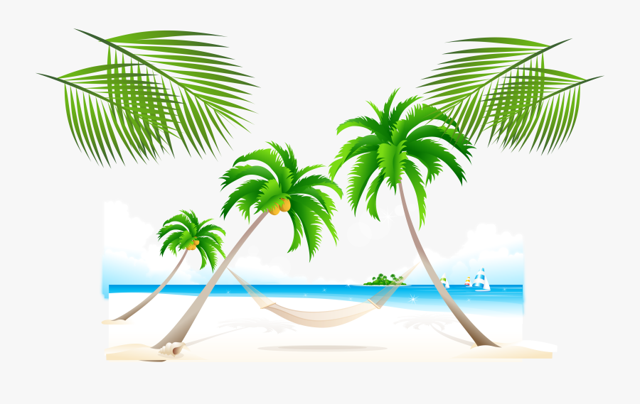 Trees On The Beach Clipart, Transparent Clipart