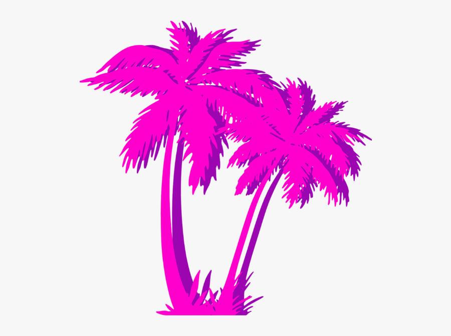 Vaporwave Transparent Palm Tree Png, Transparent Clipart