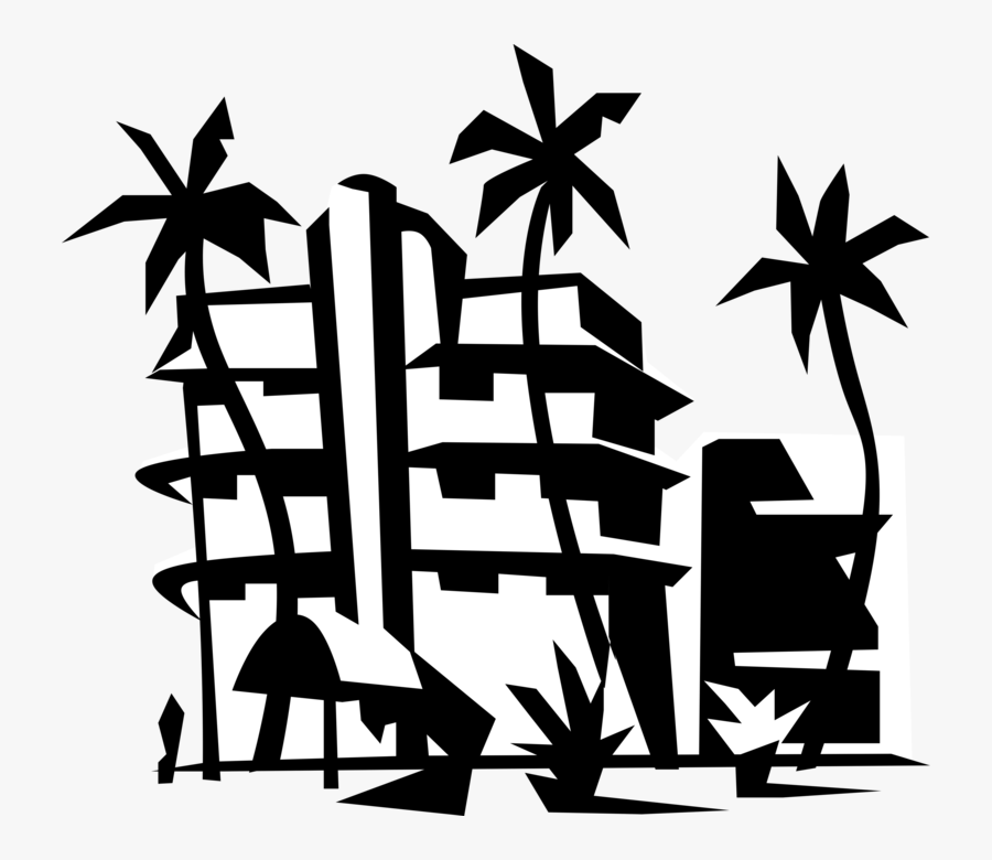 Vector Illustration Of Miami Beach Resort Hotel With - Resort Clipart Black And White, Transparent Clipart