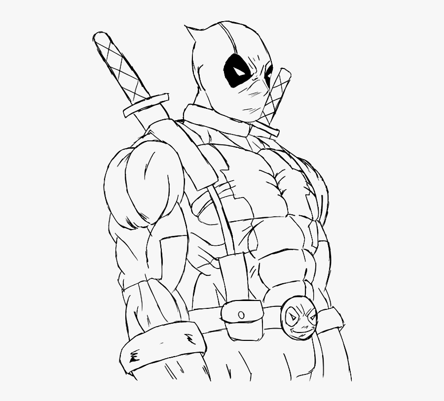 #deadpool #outline #draw #line #drawing #freetoedit - Marvel Coloring Pages Deadpool, Transparent Clipart