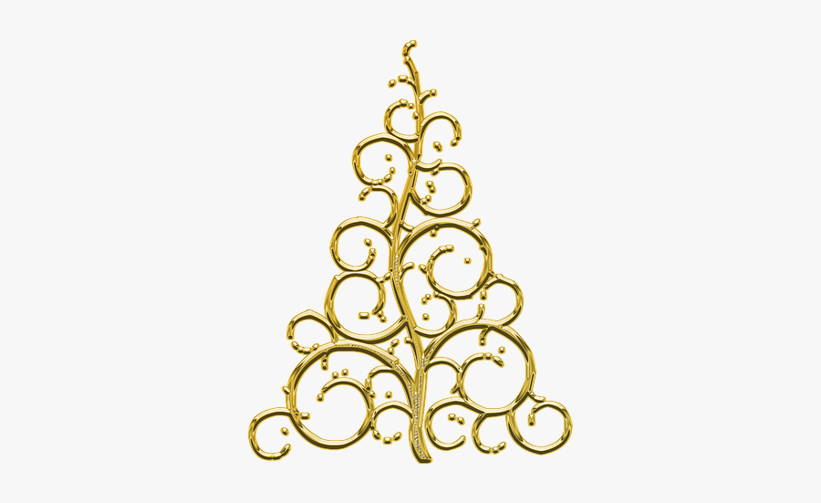 Gold Christmas Tree - Christmas Ornaments With Transparent Background, Transparent Clipart