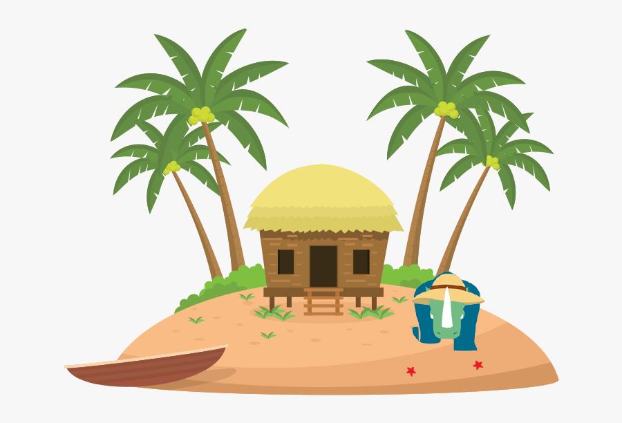Island Illustration Vector, Transparent Clipart
