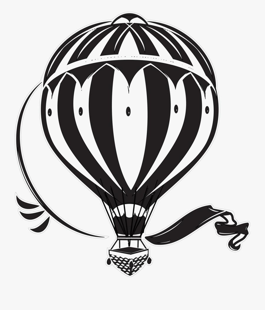 Hot Air Balloon - Montgolfière Vintage Illustration, Transparent Clipart