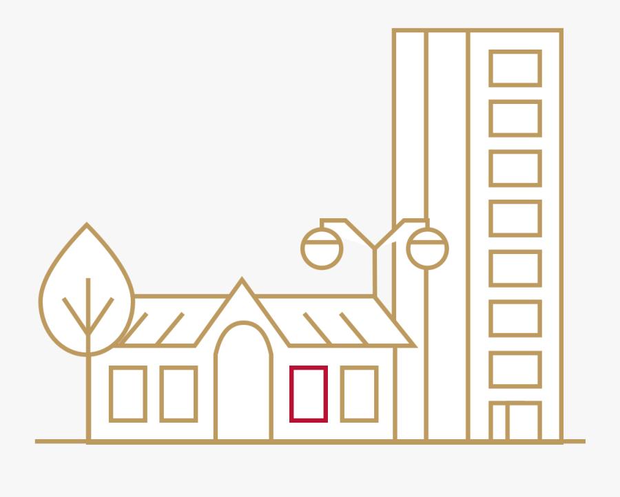 Icon Of A Home And An Apartment Building - Illustration, Transparent Clipart