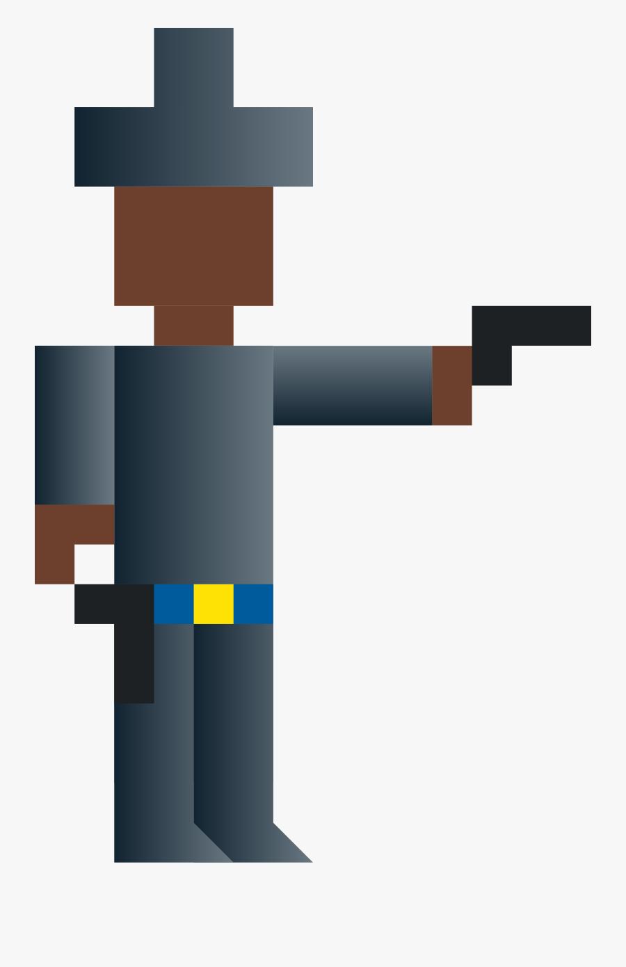 Cowboy Shooting Gun Clip Art - Shooting Gun Pixel Art, Transparent Clipart