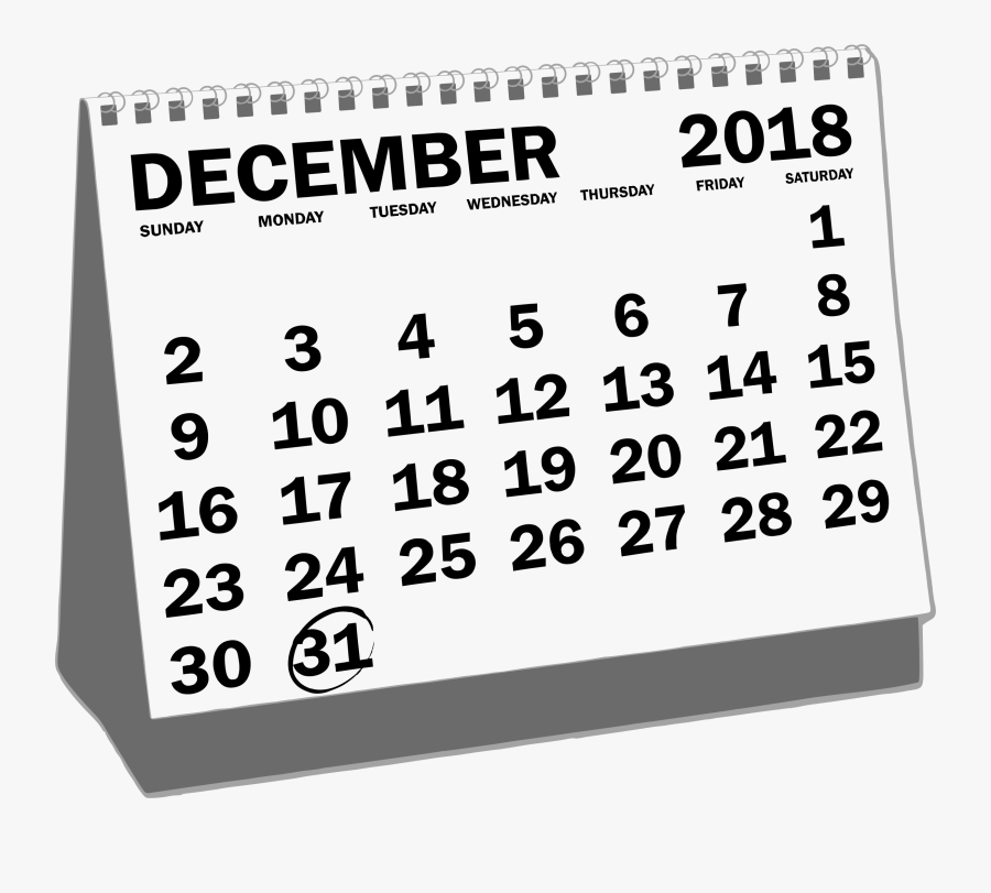 Thursday Clipart Sunday Calendar - Desk Calendar December ...