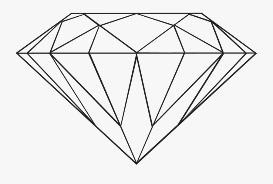 Transparent Diamond By Danakatherinescully On Clipart - Diamond Outline Drawing, Transparent Clipart