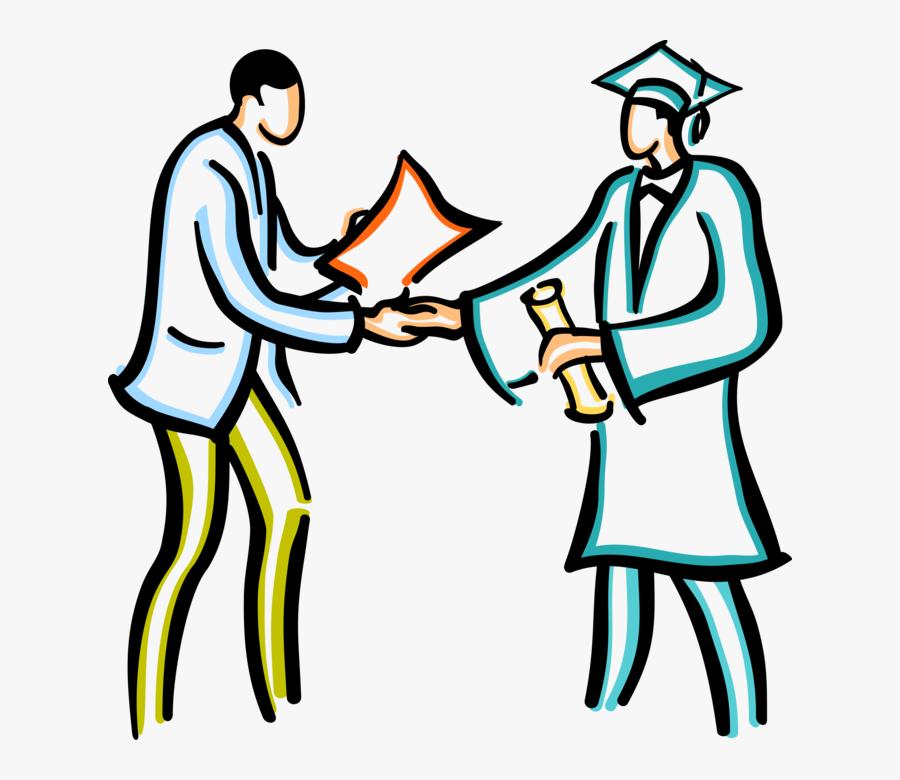 Vector Illustration Of Graduate Student Receives Graduating - Academic Achievement, Transparent Clipart