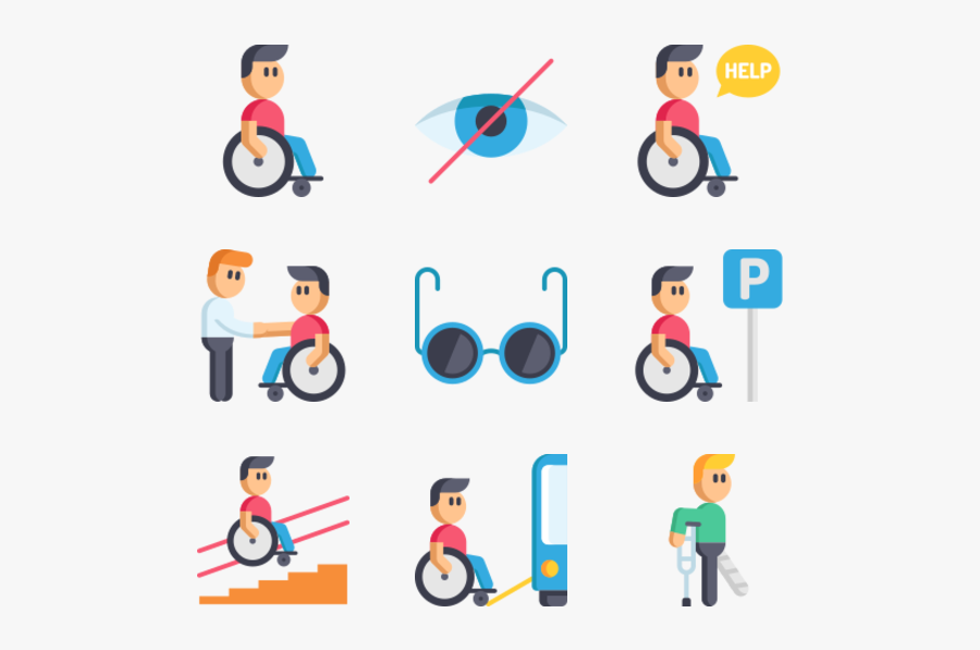 Disabled People Assistance - Disability Vector, Transparent Clipart
