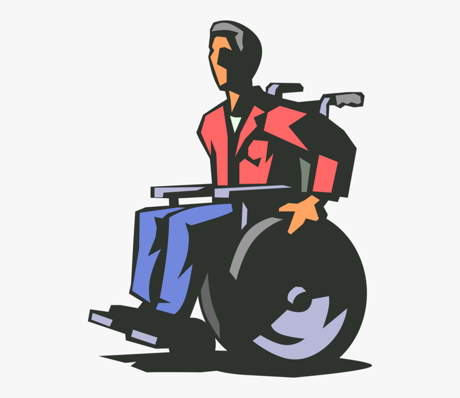 Vector Illustration Of Disabled Man In Handicapped - Transparent Disabled Wheelchair Png, Transparent Clipart
