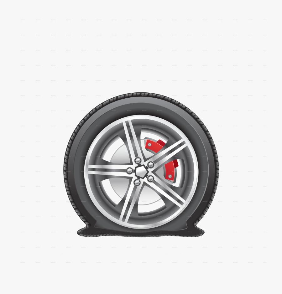 Winter Flat Tire On Snow Background - Flat Tire Clip Art, Transparent Clipart
