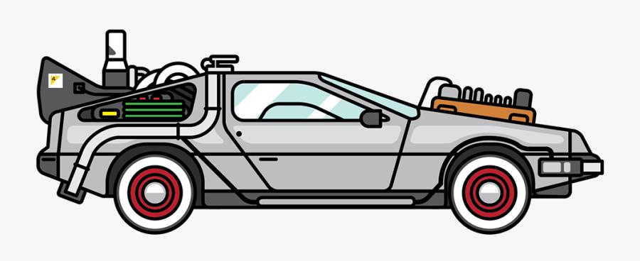 Land Vehicle,motor Design,mode Of Transport,automotive - Back To The Future Delorean Cartoon, Transparent Clipart