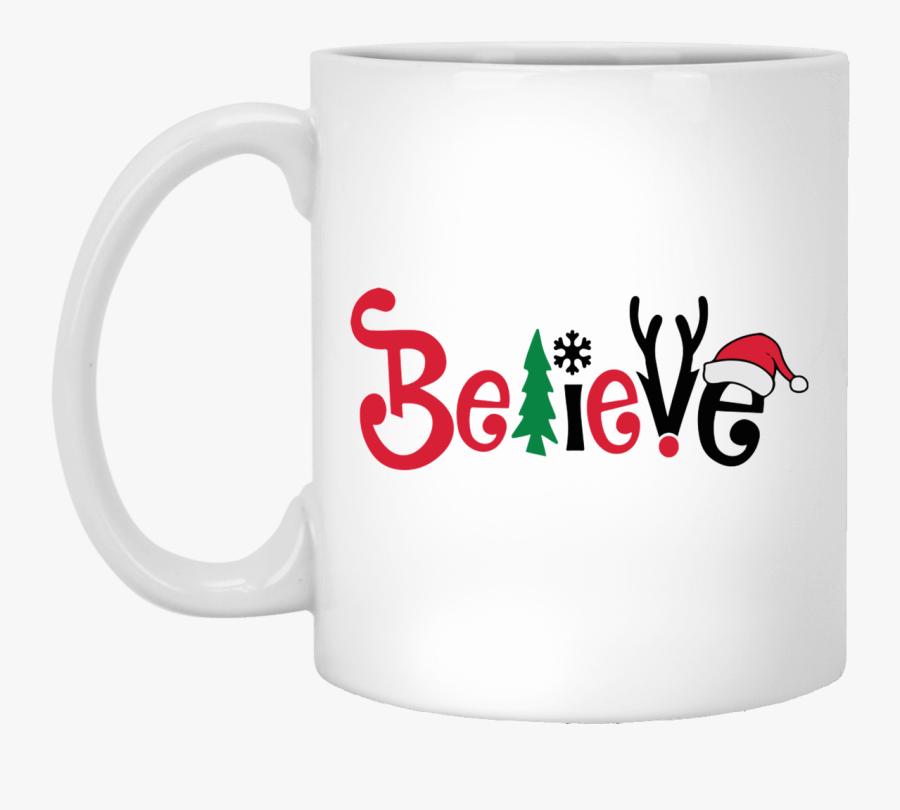Believe Christmas Coffee Mug - Mug, Transparent Clipart