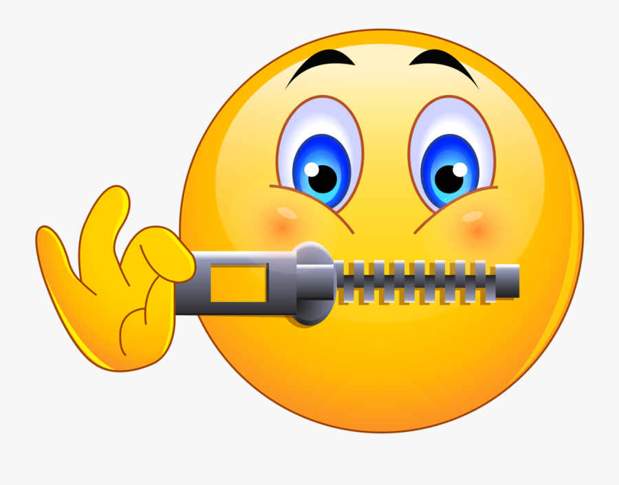Silent Clipart Lip Sealed - Zipped Up Mouth Emoji, Transparent Clipart