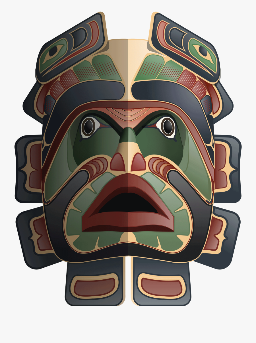 Masks Clipart Native American - Native American Tribal Mask, Transparent Clipart