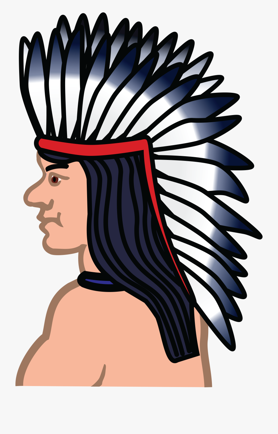 Transparent Indian Clipart - Native American Hair Clip Art, Transparent Clipart